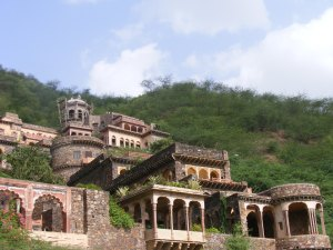 Neemrana Fort Heritage Hotel has a great view of the countryside.