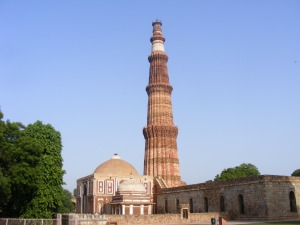 Qutab Minar in Delhi outskirts a monument from the Slave dynasty of the thirteenth century.