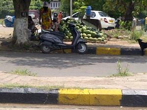 watermelon seller on roadside